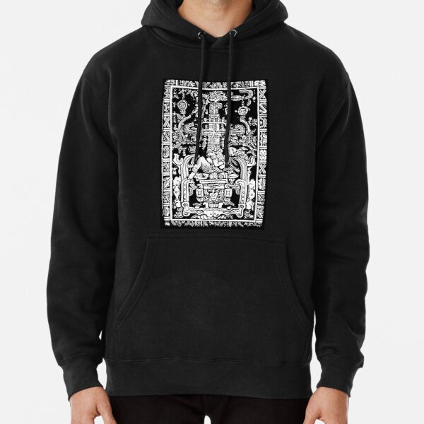 Ancient Astronaut. Pakal, Maya, sarcophagus lid, in Black & White. Pullover Hoodie