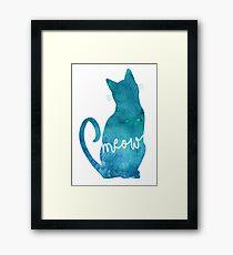 Lámina enmarcada Silueta de gato acuarela azul