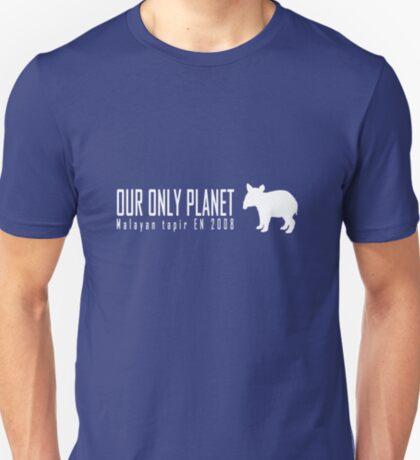 Endangered animals - Malayan tapir Our only planet white print T-Shirt