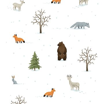 Winter Forest Animals Pattern by freeminds