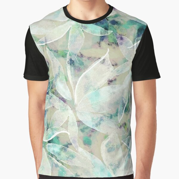 Frosted Watercolor Leaves Graphic T-Shirt