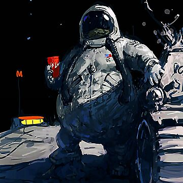 Funny fat astronaut with burger ⛔ HQ quality by MichailoAvilov