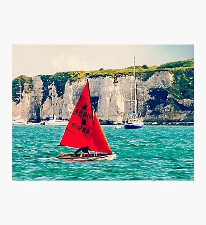 Little Red Sailboat. Photographic Print