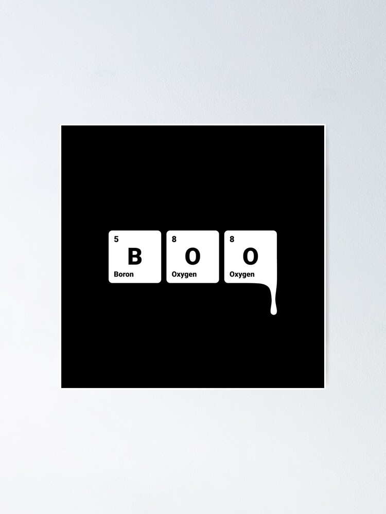 Alternate view of BOO! Scary Halloween Periodic Table Elements Boron Oxygen Poster
