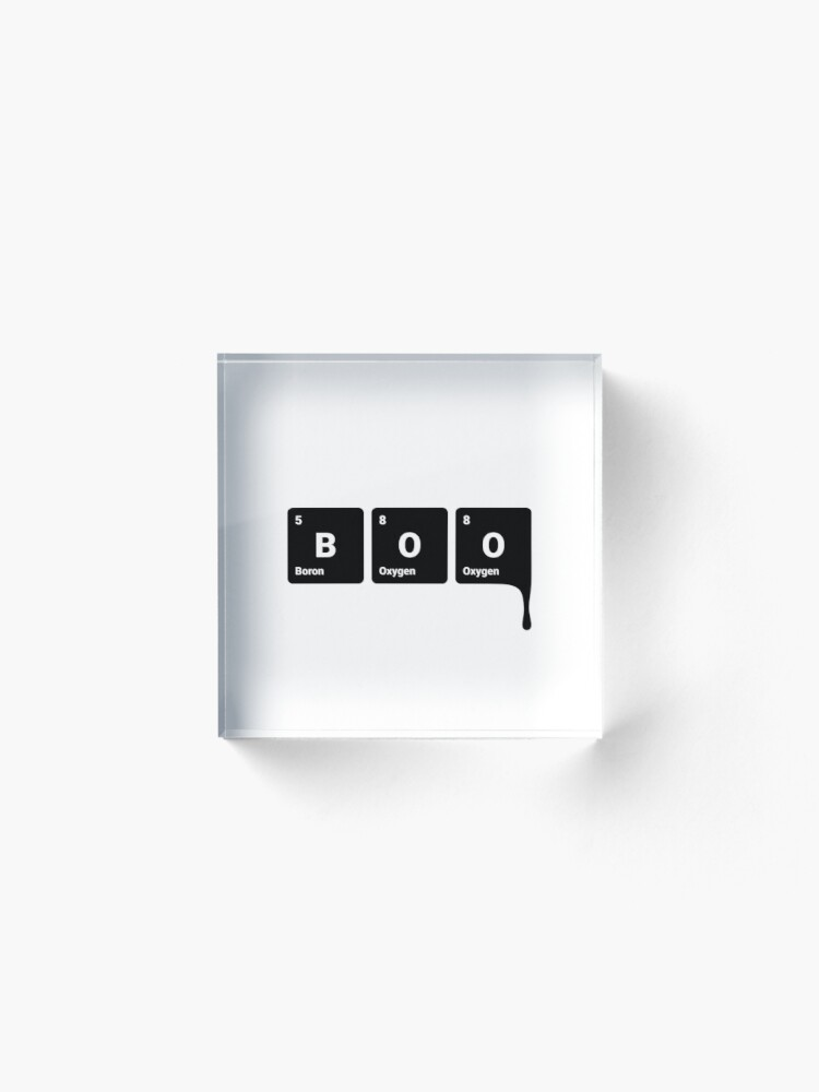 Alternate view of BOO! Scary Halloween Periodic Table Elements Boron Oxygen (Inverted) Acrylic Block