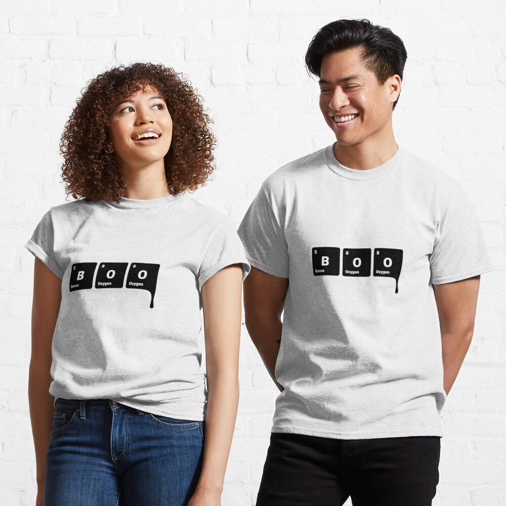 BOO! Scary Halloween Periodic Table Elements Boron Oxygen (Inverted) Classic T-Shirt
