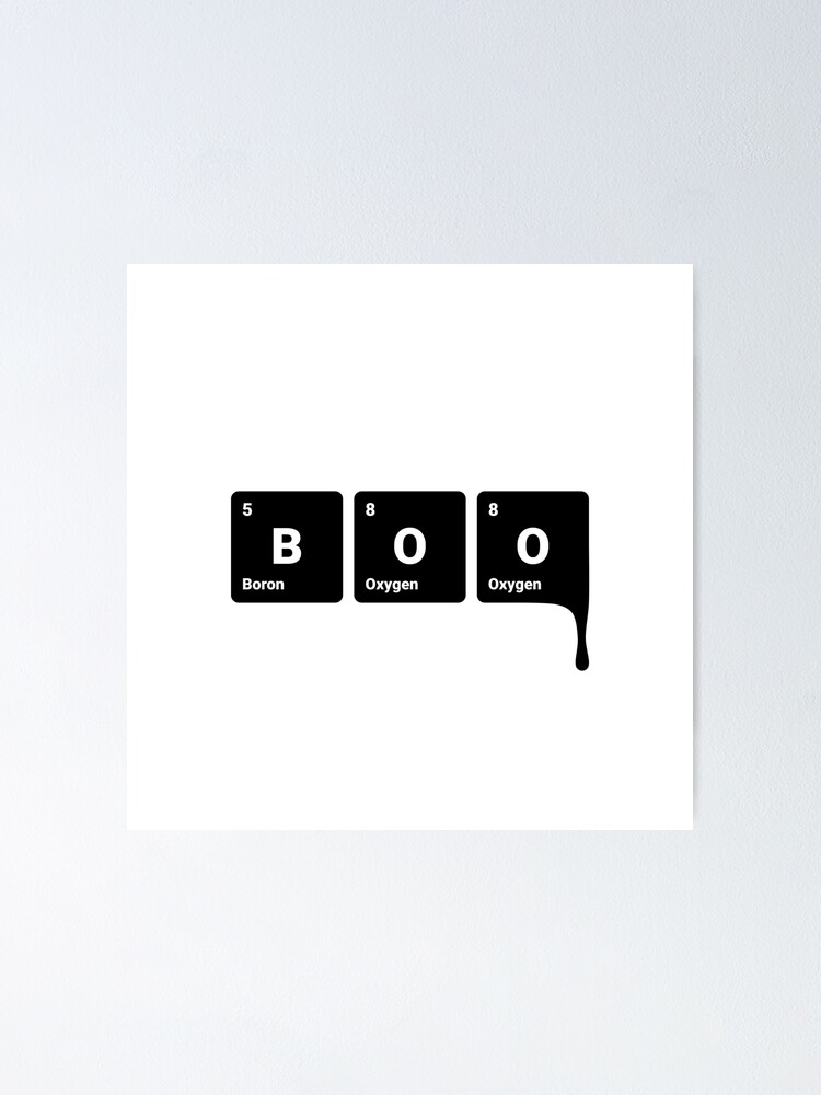 Alternate view of BOO! Scary Halloween Periodic Table Elements Boron Oxygen (Inverted) Poster