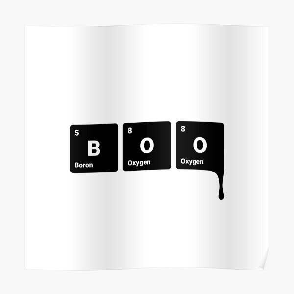 BOO! Scary Halloween Periodic Table Elements Boron Oxygen (Inverted) Poster