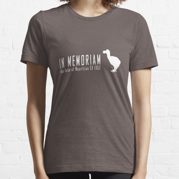 Extinct animals - Dodo of Mauritius In Memoriam white print Essential T-Shirt