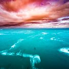 Turquoise Ocean Sunset - Pink Sky Pacific by artcascadia