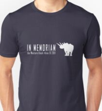 Extinct animals - Western black rhino In Memoriam white print Unisex T-Shirt