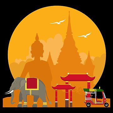 Flat Design- Bangkok Thailand Budda Elefant Tuk Tuk - Gift Idea by vicoli-shirts