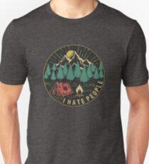 Camiseta ajustada odio a las personas que acampan