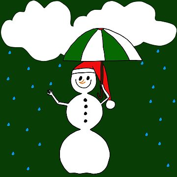 a funny snowman with umbrella in the rain by rhnaturestyles