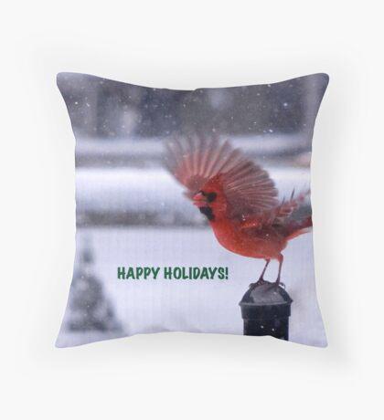 Cardinal for the Holidays Throw Pillow