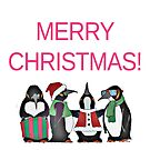Line of Festive Penguins Wishing Merry Christmas by Ruthie Spoonemore