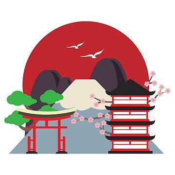 Flat Design - Japan Town Mount Fuji Sakura - Gift Idea by vicoli-shirts