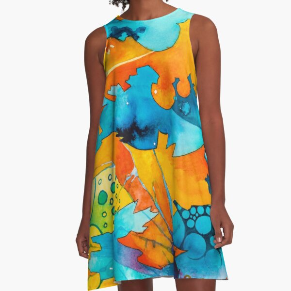 Are They Unicorns or Horniecornies? - Watercolor Painting A-Line Dress