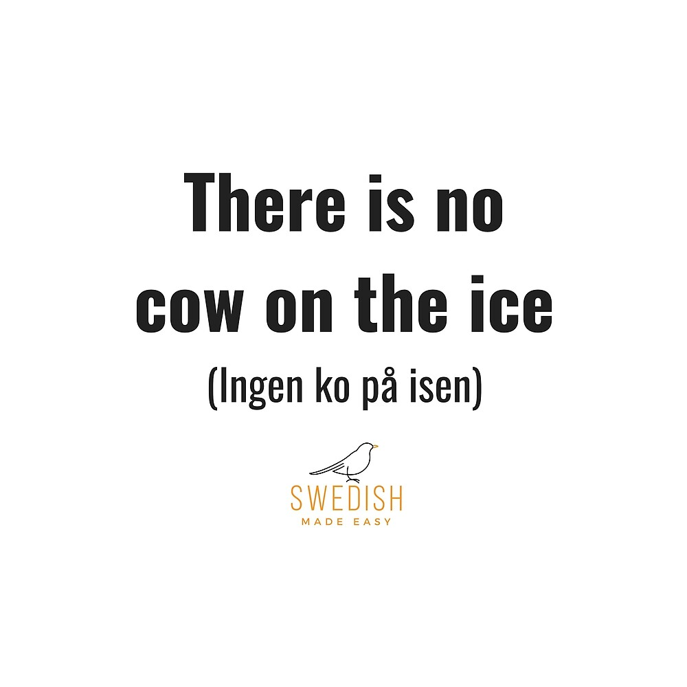 Swedish Sayings - No cow on the ice by swedishmadeeasy