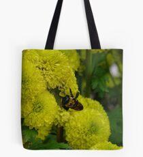 Bee on Yellow Chrysanthemums Tote Bag