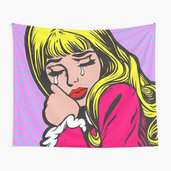 Blonde Bangs Crying Comic Girl Tapestry