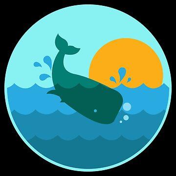 Whale Jump Sunrise Ocean Window - Gift Idea by vicoli-shirts