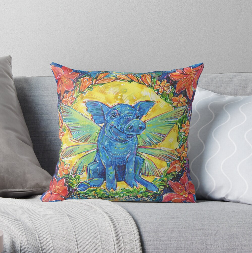 Fairy Pig Painting - 2018 Throw Pillow
