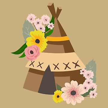 Indian Tent with Flowers Forest Child - Gift Idea by vicoli-shirts