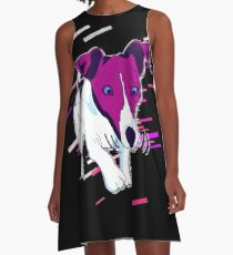 Dog funny Eighties Retro Violet and Purple A-Line Dress