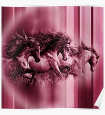 Water Colour Paint Horse - Strips Texture Poster