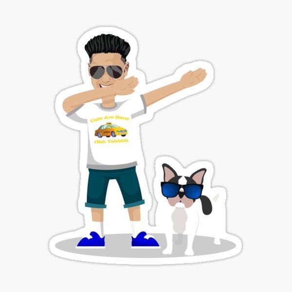 Solo un DJ y su perro, DJ divertido Pauly D Dabbing con French Bulldog Wearing Shades Pegatina