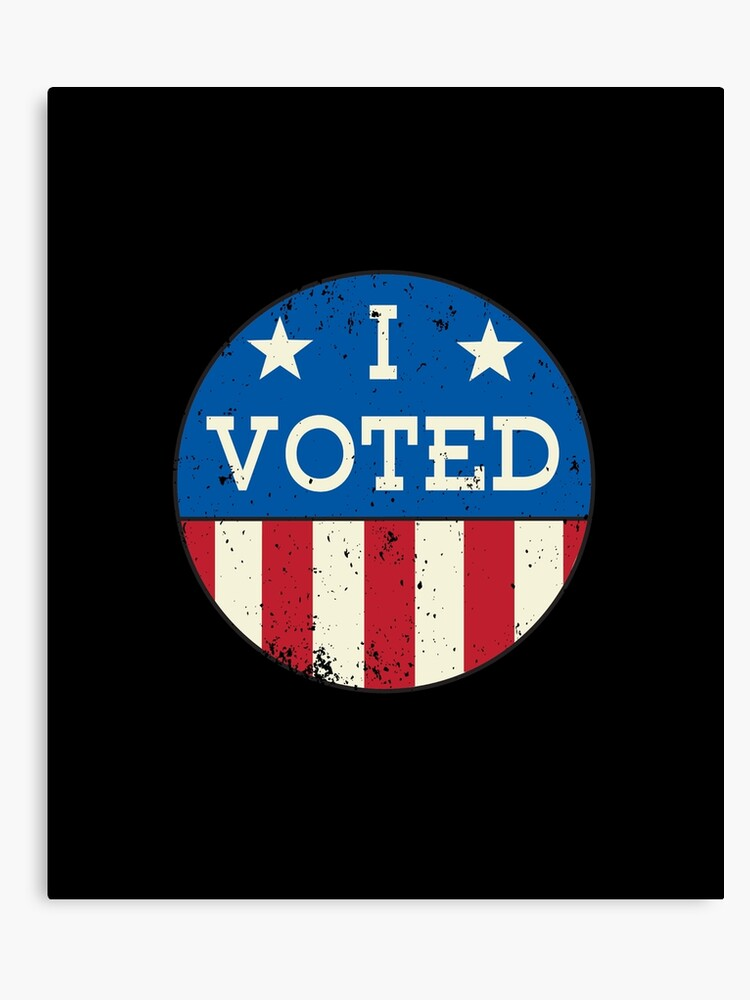 photograph regarding I Voted Stickers Printable named Vote upon - I voted sticker classic retro distressed Canvas Print