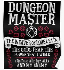 Dungeon Master, The Weaver of Lore & Fate - Dungeons & Dragons (White Text) Poster