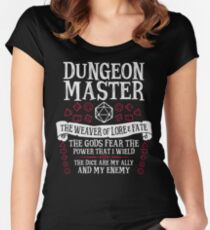 Dungeon Master, The Weaver of Lore & Fate - Dungeons & Dragons (White Text) Women's Fitted Scoop T-Shirt