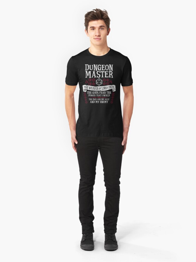 Alternate view of Dungeon Master, The Weaver of Lore & Fate - Dungeons & Dragons (White Text) Slim Fit T-Shirt