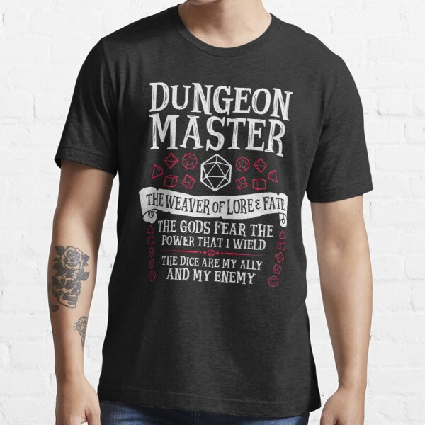 Dungeon Master, The Weaver of Lore & Fate - Dungeons & Dragons (White Text) Essential T-Shirt