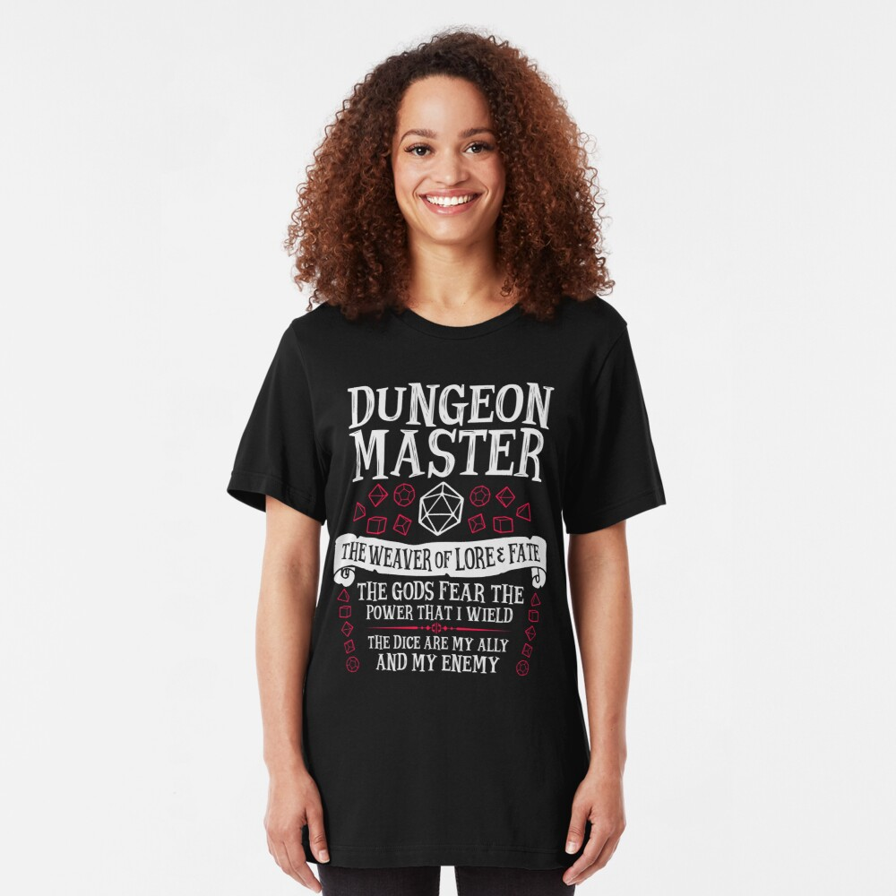 Dungeon Master, The Weaver of Lore & Fate - Dungeons & Dragons (White Text) Slim Fit T-Shirt