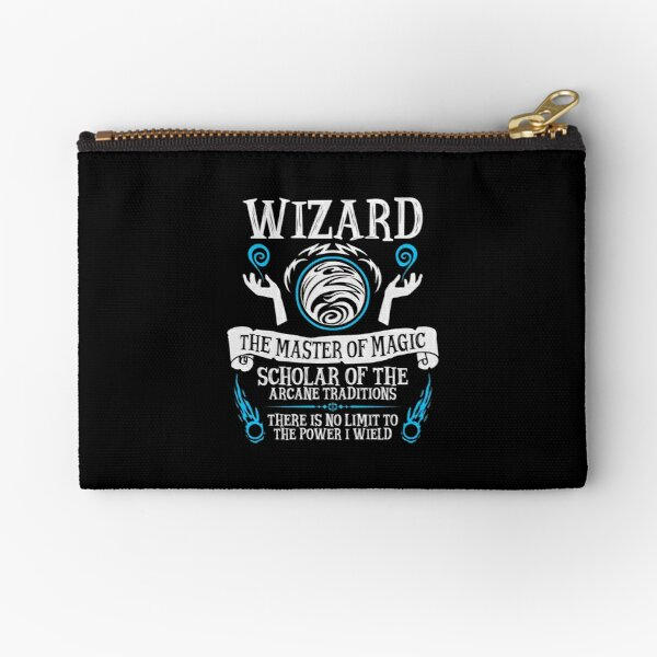 WIZARD, The Master of Magic - Dungeons & Dragons (White Text) Zipper Pouch