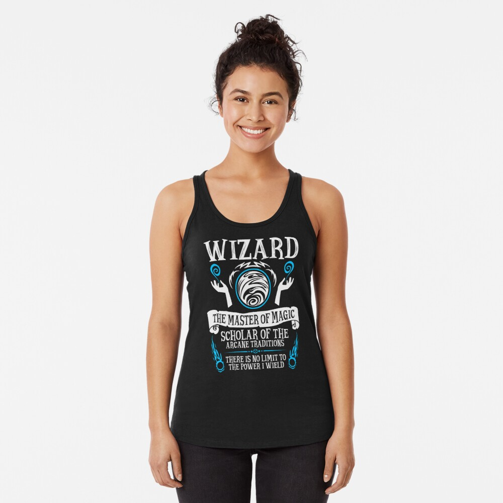 WIZARD, The Master of Magic - Dungeons & Dragons (White Text) Racerback Tank Top