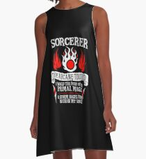SORCERER, The Arcane-Touched - Dungeons & Dragons (White Text) A-Line Dress