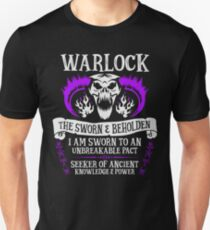 WARLOCK, THE SWORN AND BEHOLDEN - Dungeons & Dragons (White Text) Unisex T-Shirt