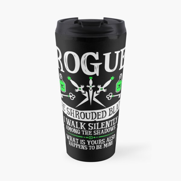ROGUE, THE SHROUDED BLADE - Dungeons & Dragons (White Text) Travel Mug