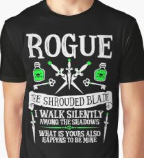 ROGUE, THE SHROUDED BLADE - Dungeons & Dragons (White Text) Graphic T-Shirt