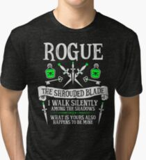 ROGUE, THE SHROUDED BLADE - Dungeons & Dragons (White Text) Tri-blend T-Shirt