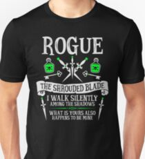 ROGUE, THE SHROUDED BLADE - Dungeons & Dragons (White Text) Unisex T-Shirt