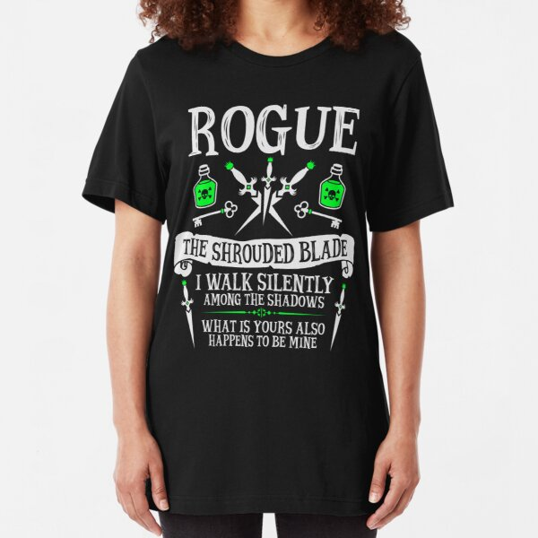 ROGUE, THE SHROUDED BLADE - Dungeons & Dragons (White Text) Slim Fit T-Shirt