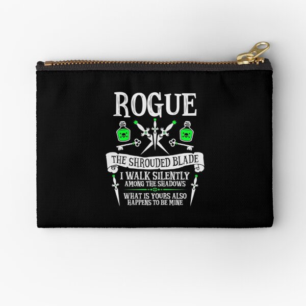 ROGUE, THE SHROUDED BLADE - Dungeons & Dragons (White Text) Zipper Pouch