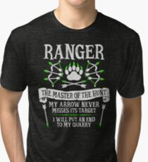 RANGER, The Master of the Hunt - Dungeons & Dragons (White Text) Tri-blend T-Shirt