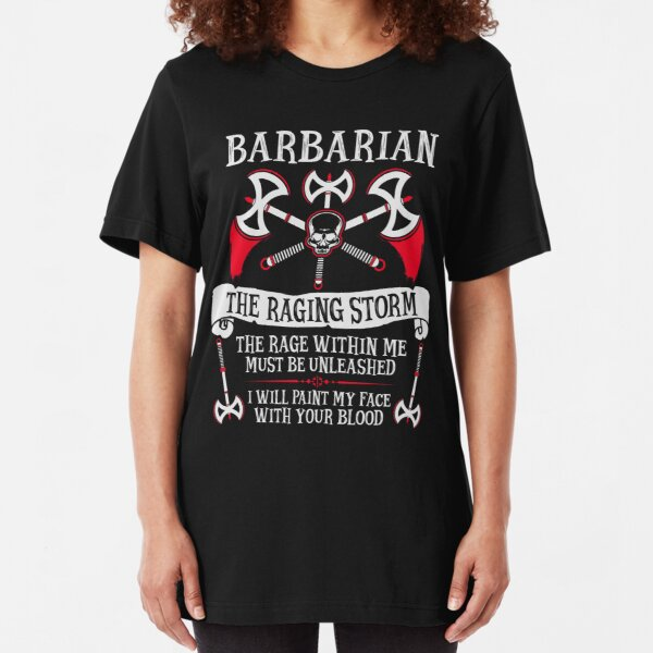BARBARIAN, THE RAGING STORM - Dungeons & Dragons (White) Slim Fit T-Shirt