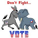 Elephant & Donkey ARGUING Don't Fight VOTE  by Elaine Plesser